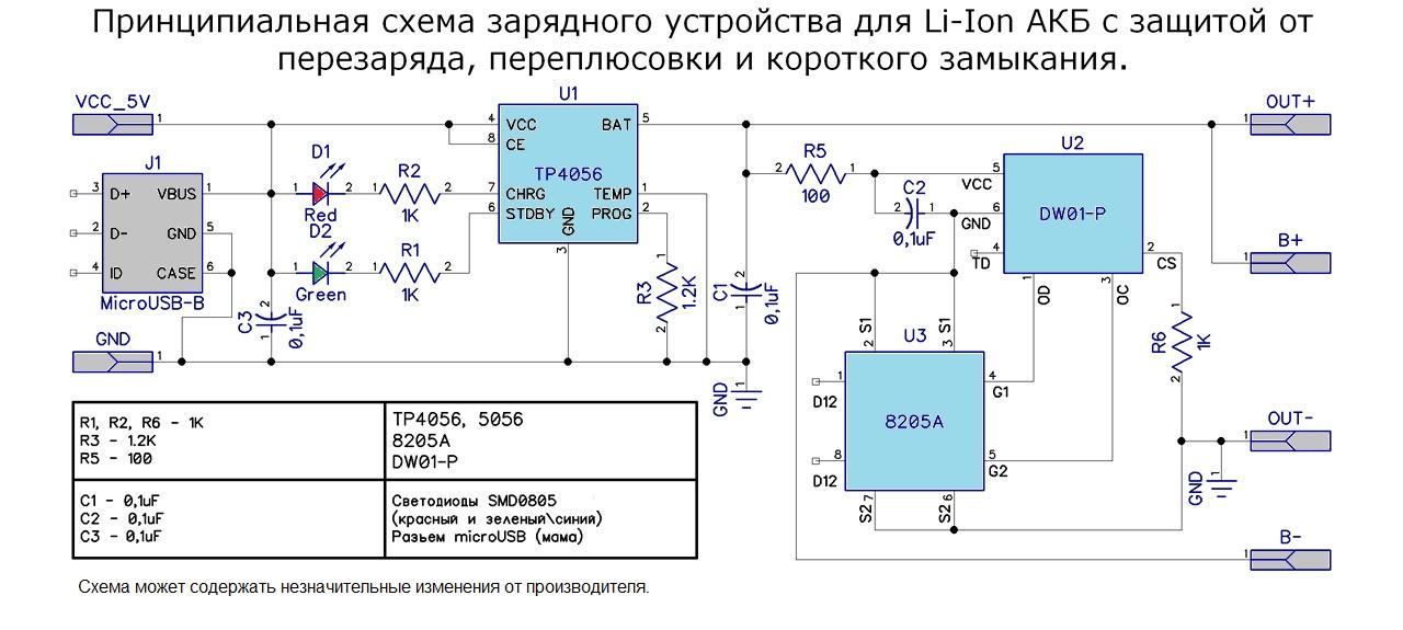 Модуль заряда для Li-ion аккумулятора на TP4056 c micro USB