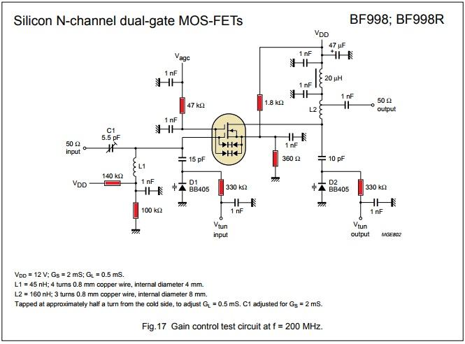 Схема усилителя вч на частоты до 800 мгц bf988A 988