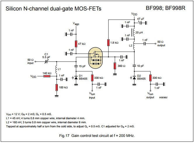 схема усилителя вч до 200 мгц на bf988