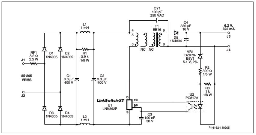 схема включения LNK362, LNK363, LNK364