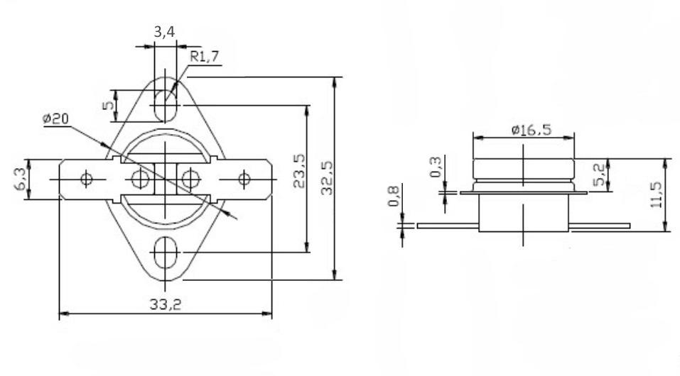 Размеры чертеж термостатаKSD301